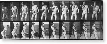 Consecutive Images Of Man Lifting Canvas Print by Everett
