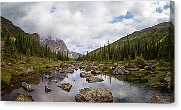 Consolation Lake Banff Canvas Print by Joan Carroll