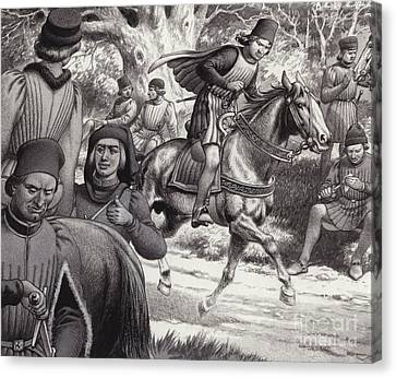 Conspirators Look On As Lorenzo De Medici Rides By  Canvas Print by Pat Nicolle