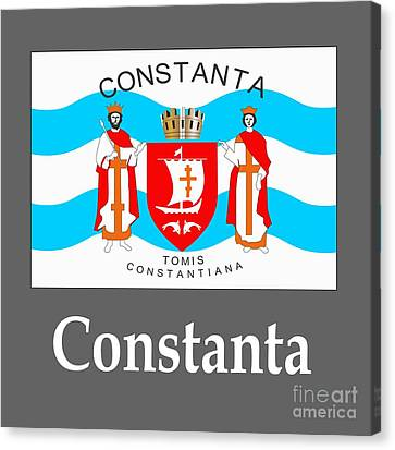 Constanta, Romania Flag And Name Canvas Print by Frederick Holiday