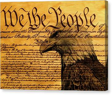 Constitution And Bald Eagle Canvas Print