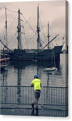 Canvas Print featuring the photograph Construction Break On Boston Harbor by Joann Vitali