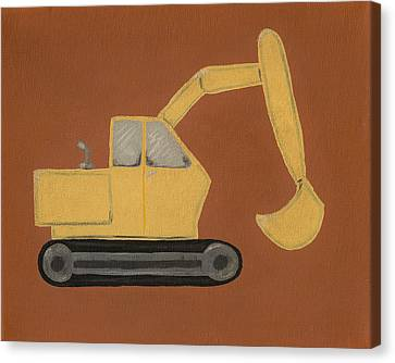 Construction Digger Canvas Print by Katie Carlsruh