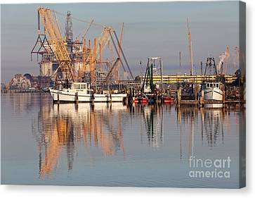Construction Of Oil Platform With Boats Canvas Print by Inga Spence