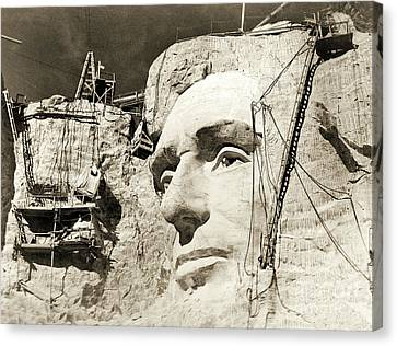 Construction Of The Mount Rushmore National Memorial, Detail Of Abraham Lincoln,1928  Canvas Print by American School