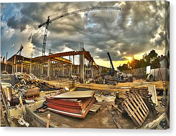 Crane Canvas Print - Construction Site by Jaroslaw Grudzinski