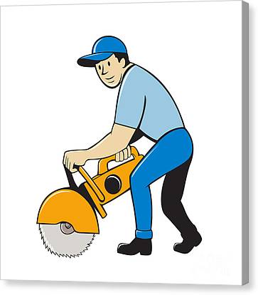Construction Worker Concrete Saw Cutter Isolated Canvas Print