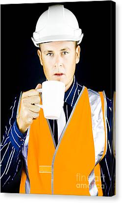 Construction Worker Having Coffee Canvas Print by Jorgo Photography - Wall Art Gallery
