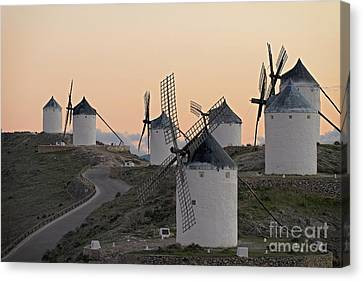 Canvas Print featuring the photograph Consuegra Windmills by Heiko Koehrer-Wagner