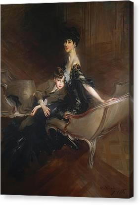 Consuelo Vanderbilt - Duchess Of Marlborough And Her Son Lord Iv Canvas Print by Giovanni Boldini