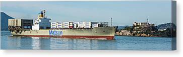 Alcatraz Canvas Print - Container Ship by Paul Freidlund