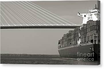 Container Canvas Print - Container Ship Under Cooper River Bridge by Dustin K Ryan