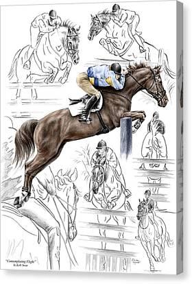 Contemplating Flight - Horse Jumper Print Color Tinted Canvas Print by Kelli Swan