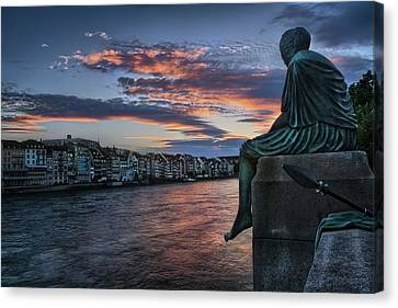 Contemplating Life In Basel Canvas Print by Carol Japp