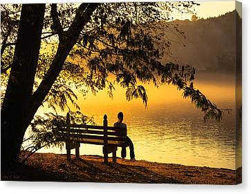 Contemplating Life On The Chattahoochee Canvas Print by Mark E Tisdale