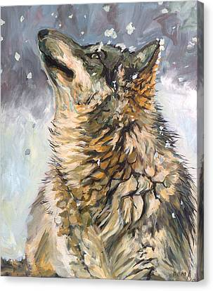 Canvas Print featuring the painting Contemplating The Snow by Koro Arandia