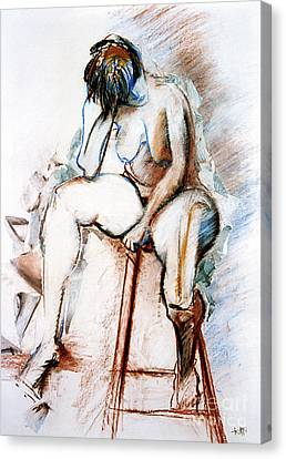 Contemplation - Nude On A Stool Canvas Print by Kerryn Madsen-Pietsch