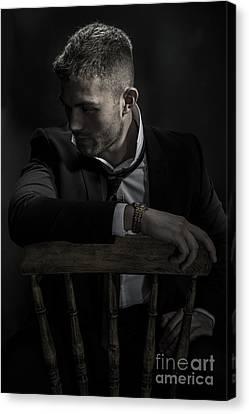 Contemplative Male Model Canvas Print by Amanda Elwell