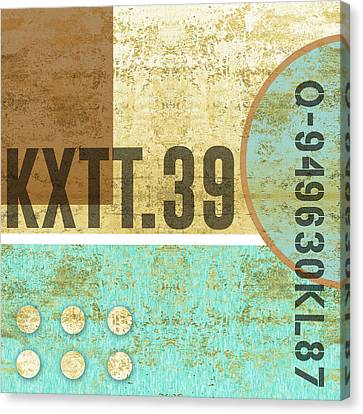 Contemporary Abstract Industrial Art - Distressed Metal - Blue And Sand Canvas Print