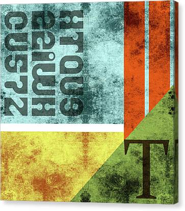 Contemporary Abstract Industrial Art - Distressed Metal - Blue, Green, Yellow Canvas Print