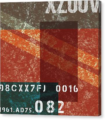 Contemporary Abstract Industrial Art - Distressed Metal - Deep Red Canvas Print
