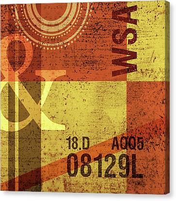 Contemporary Abstract Industrial Art - Distressed Metal - Olive Yellow And Orange Canvas Print