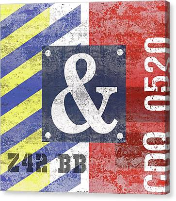 Contemporary Abstract Industrial Art - Distressed Metal - Red And Blue Stripes Canvas Print
