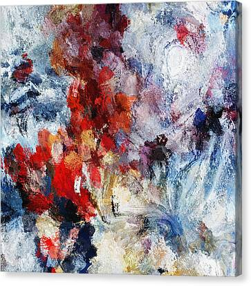 Contemporary Abstract Painting In Red / Orange Tones Canvas Print by Ayse Deniz