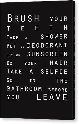 Contemporary Bathroom Rules - Subway Sign Canvas Print by Linda Woods
