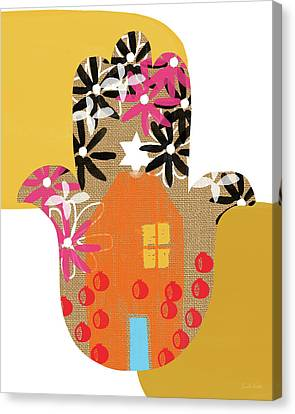 Jewish Canvas Print - Contemporary Hamsa With House- Art By Linda Woods by Linda Woods