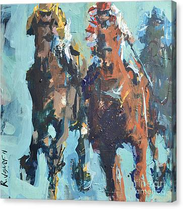 Contemporary Horse Racing Painting Canvas Print by Robert Joyner