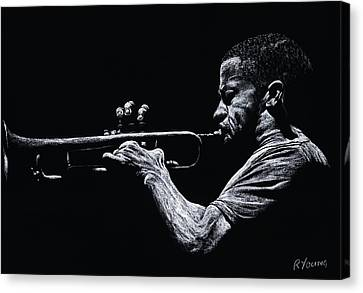 Contemporary Jazz Trumpeter Canvas Print by Richard Young