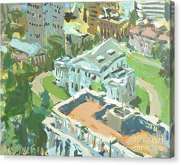 Contemporary Richmond Virginia Cityscape Painting Featuring Virginia State Capitol Building Canvas Print by Robert Joyner