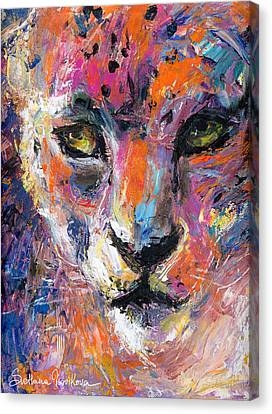 contemporary Wildlife painting cheetah leopard  Canvas Print by Svetlana Novikova