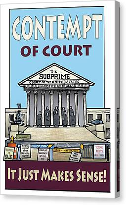 Contempt Of Court Canvas Print by Ricardo Levins Morales