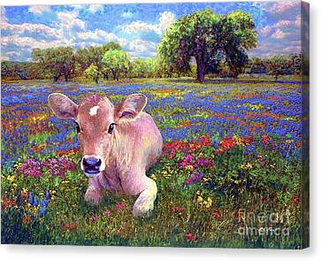 Texas A And M Canvas Print - Contented Cow In Colorful Meadow by Jane Small