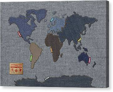 Continental Denim World Map Canvas Print