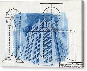 Continental Life Building Cyanotype Blueprint Architecture Canvas Print