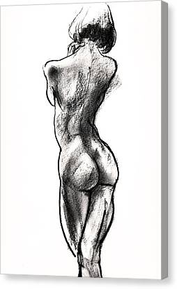 Nude Woman Charcoal Drawing Canvas Print - Contra Posta Female Nude by Roz McQuillan