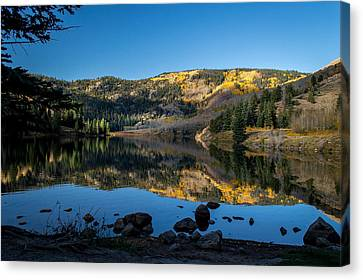 Rocky Mountain Canvas Print - Contract Lake Fall Morning by Michael J Bauer