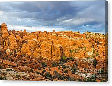 Canvas Print featuring the photograph Contrasts In Arches National Park by Sue Smith