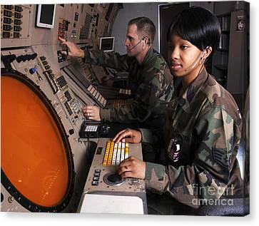 Control Technicians Use Radarscopes Canvas Print by Stocktrek Images