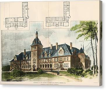 Convent Of The Sisters Of Mercy. Cresson Pa. 1896 Canvas Print by Longfellow and Alden and Harlow