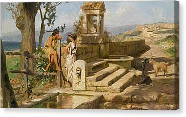 Conversation By The Spring Canvas Print
