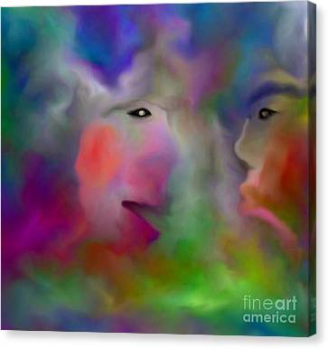 Conversation Canvas Print by Carole Thivierge