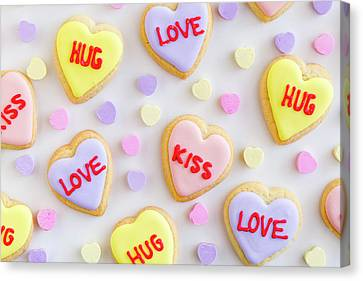 Canvas Print featuring the photograph Conversation Heart Cookie Love by Teri Virbickis