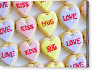 Canvas Print featuring the photograph Conversation Heart Decorated Cookies by Teri Virbickis