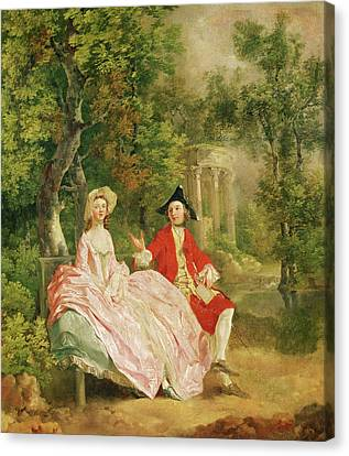 Conversation In A Park Canvas Print by Thomas Gainsborough