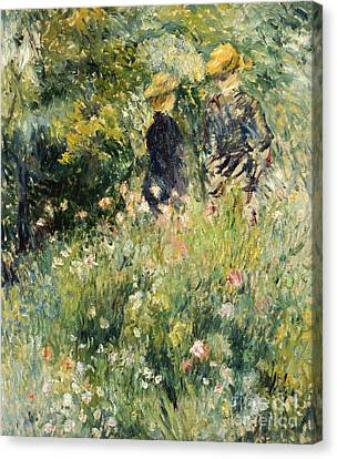 Conversation In A Rose Garden Canvas Print by Pierre Auguste Renoir