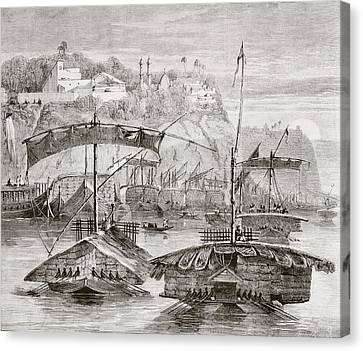 Convoy Of Boats Loaded With Cargoes Of Canvas Print by Vintage Design Pics